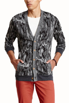 Cohesive & Co. Grey Gerome Camouflaged Cardigan