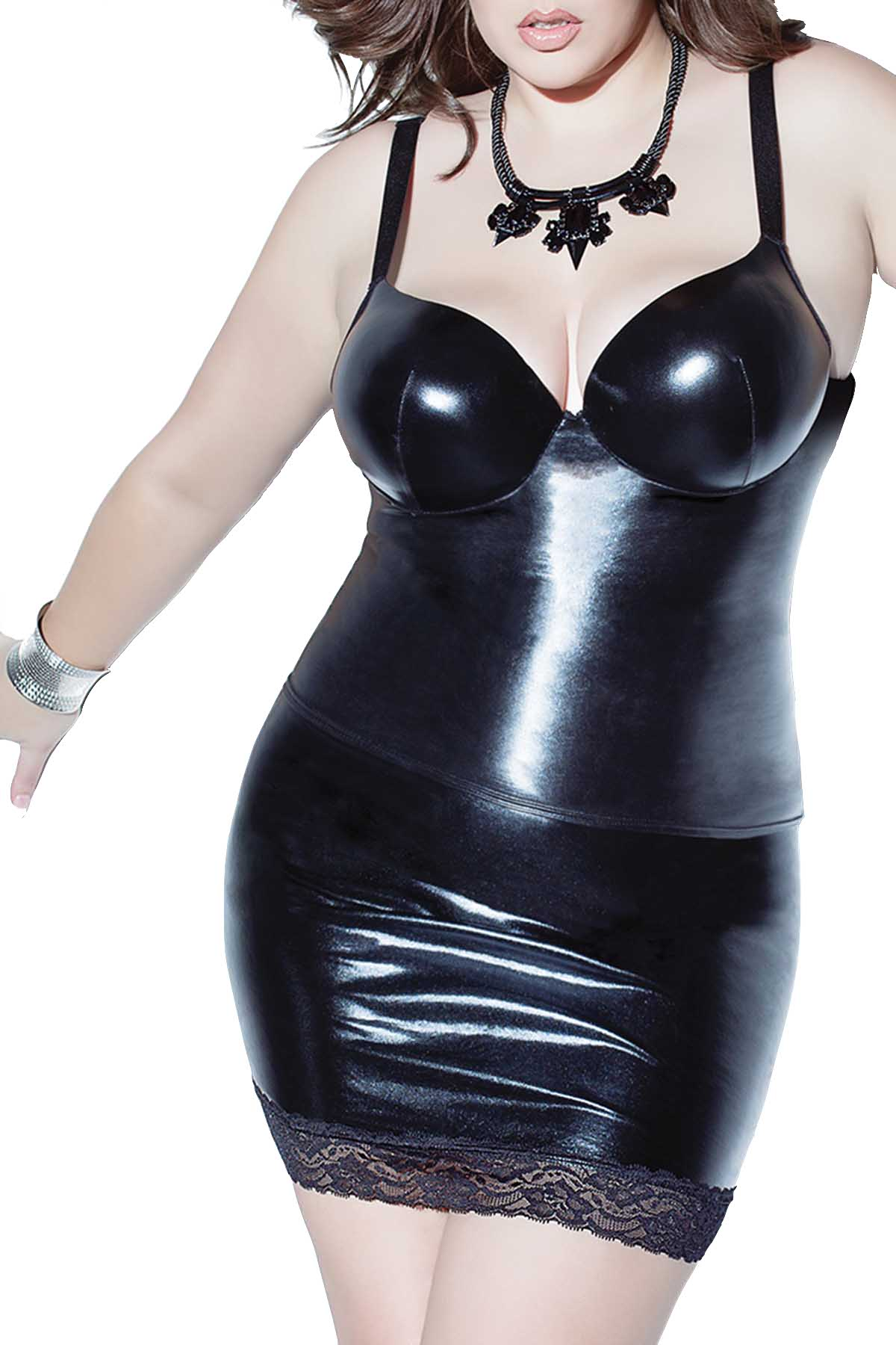 Coquette PLUS Black Wet-Look Skirt