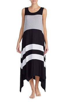 DKNY Black Asymmetrical-Hem Striped Maxi Lounge Dress