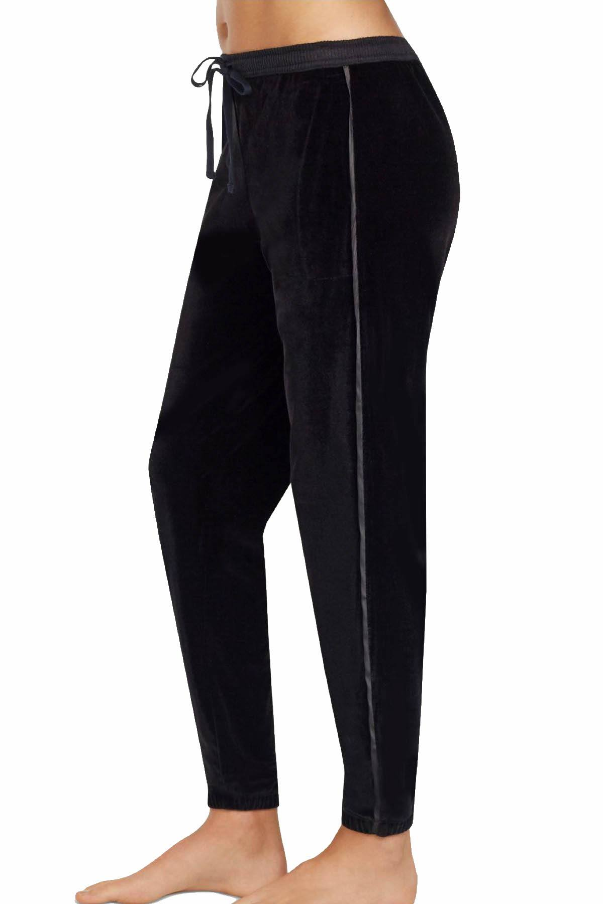 DKNY Black Stretch-Velour Pajama Pant