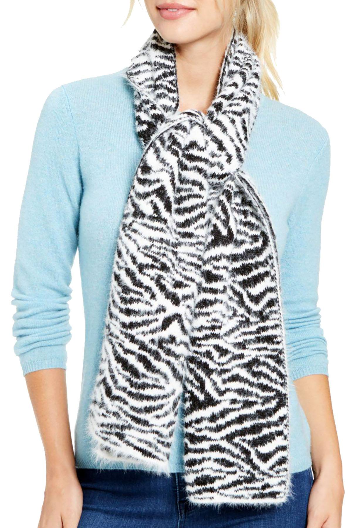 DKNY Black/White Fuzzy Animal Print Knit Scarf