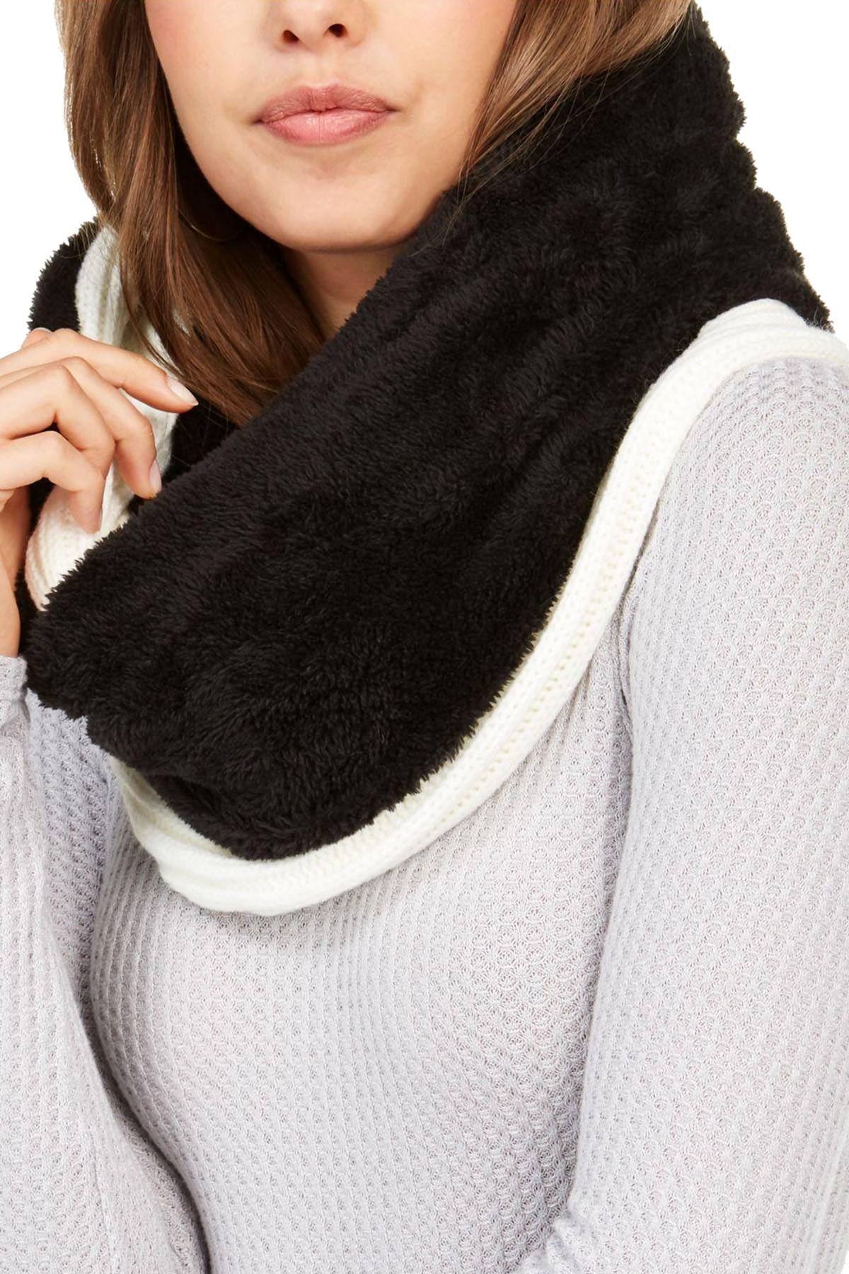 DKNY Cream Fleece Lined Knit Infinity Scarf