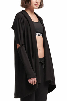 DKNY Sport Black Cut-Out Elbows Hooded Cardigan