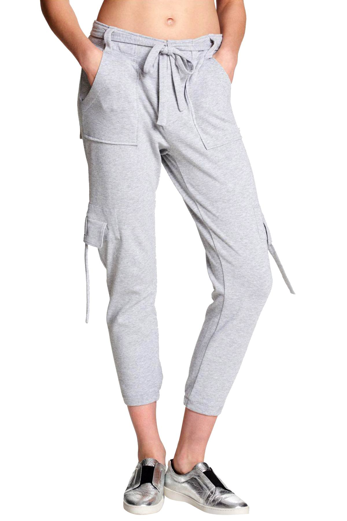DKNY Sport Dove Heather Grey Cropped Cargo Performance Sweatpant