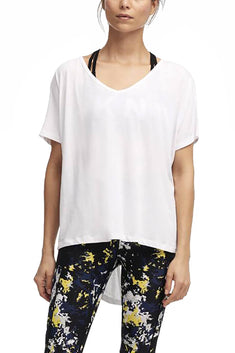 DKNY Sport White Tie-Back V-Neck Tee
