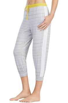 DKNY Yellow/Grey-Printed Contrast-Band Cropped Lounge Pant