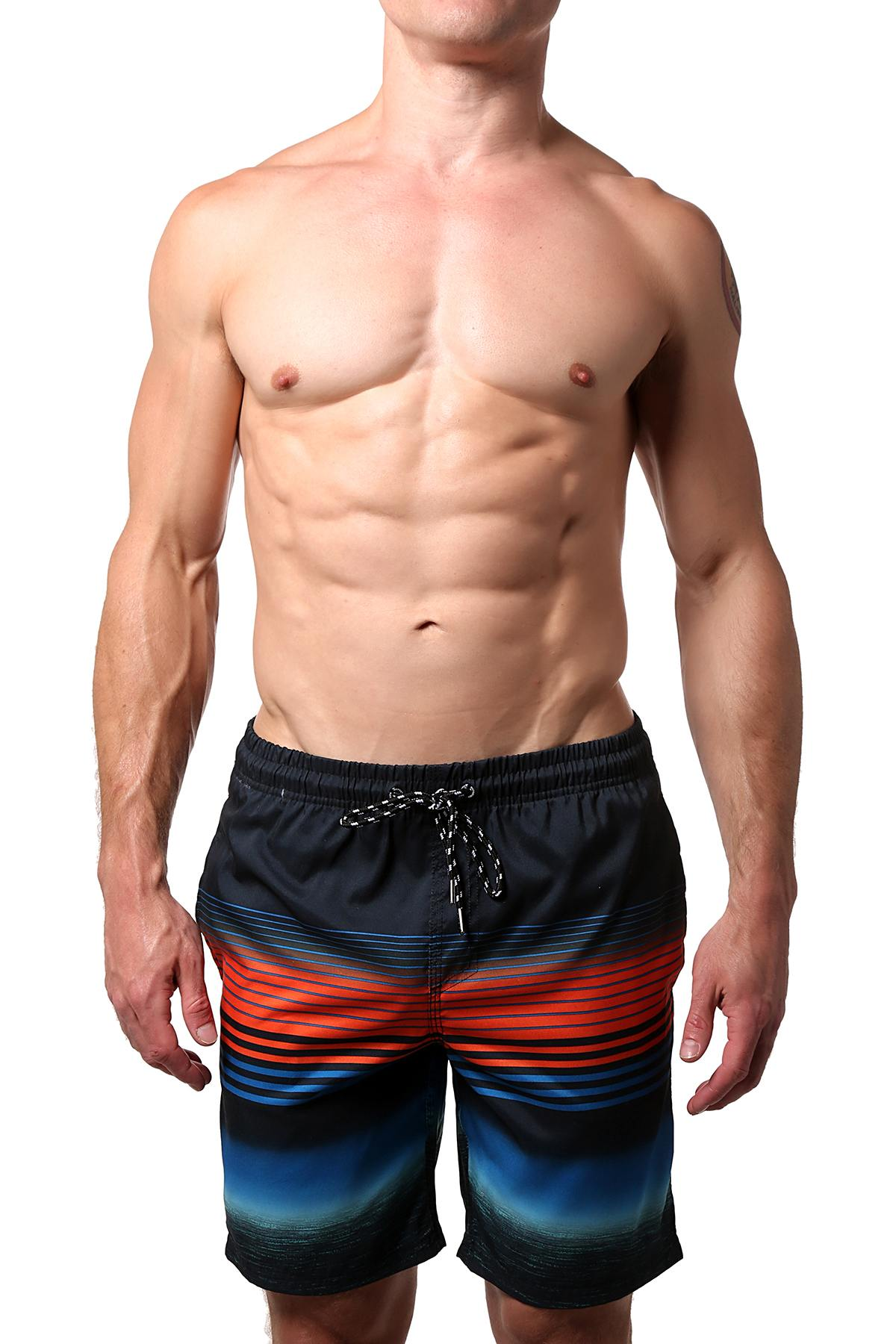 Distortion Black/Blue/Orange Striped Swim Short