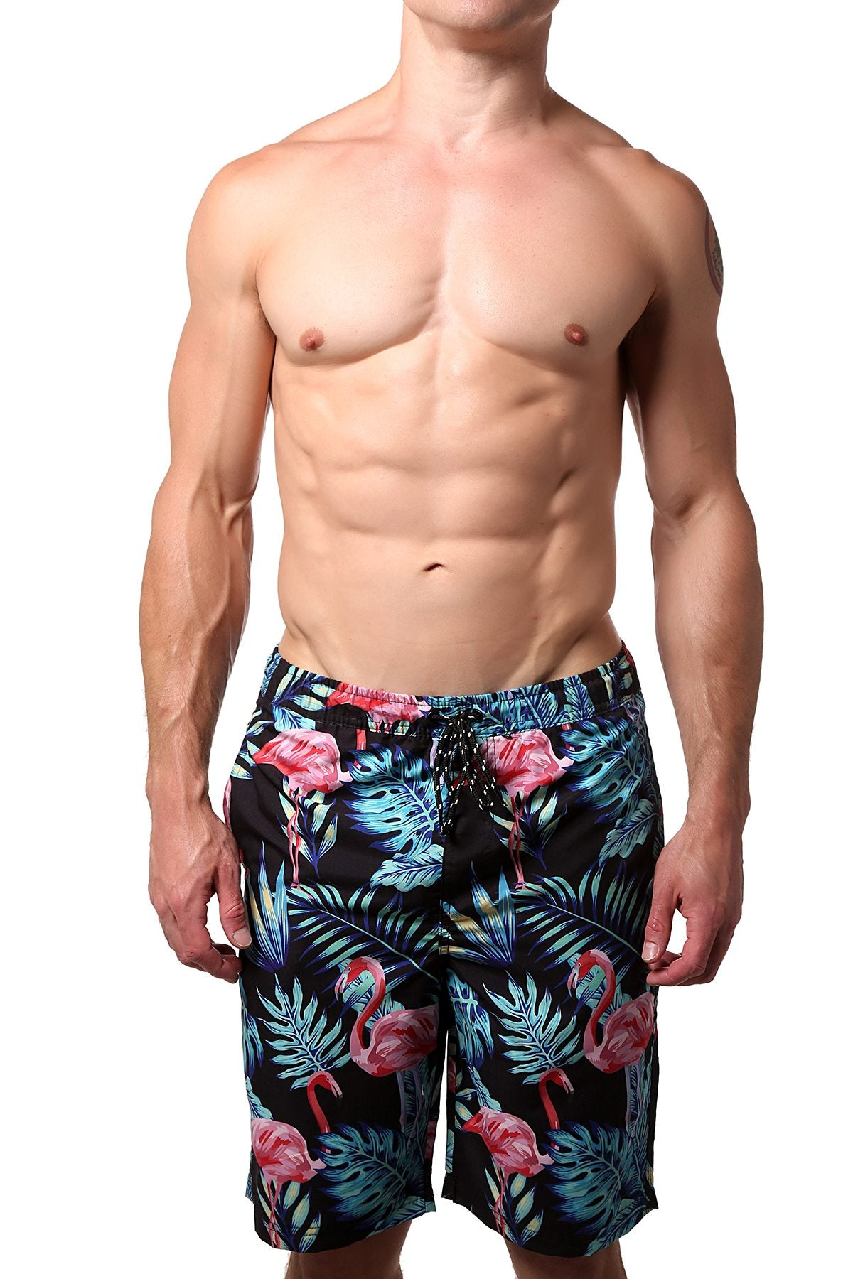 Distortion Black Flamingo Print Swim Short