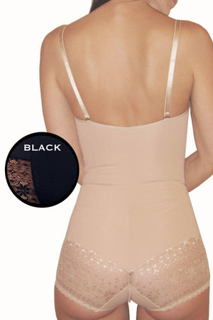 DuMi Shapewear Black Convertible-Strap Lacy Bodysuit