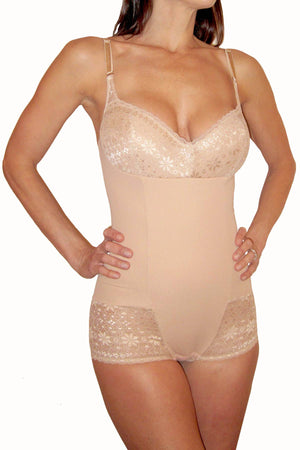 DuMi Shapewear Taupe Convertible-Strap Lacy Bodysuit