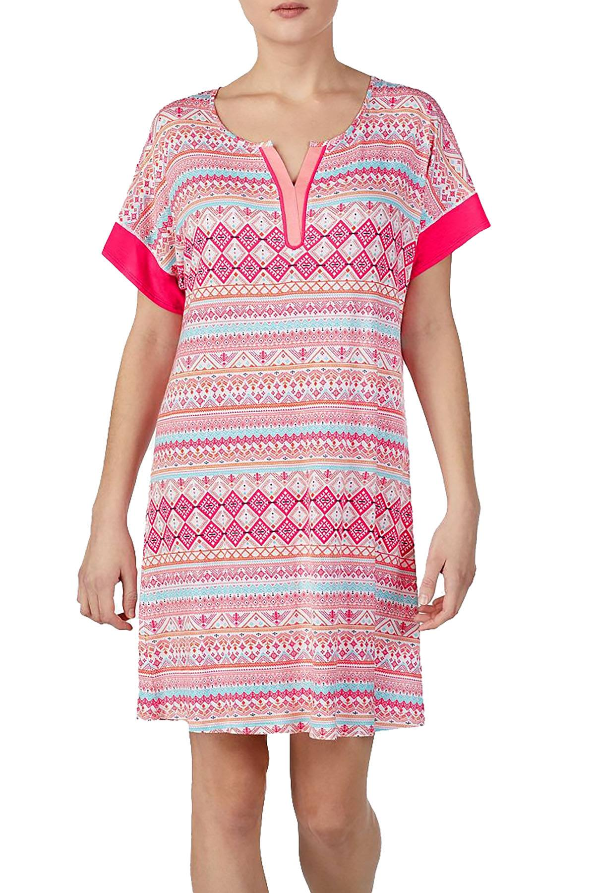Ellen Tracy Printed Split Neck Nightgown in Coral