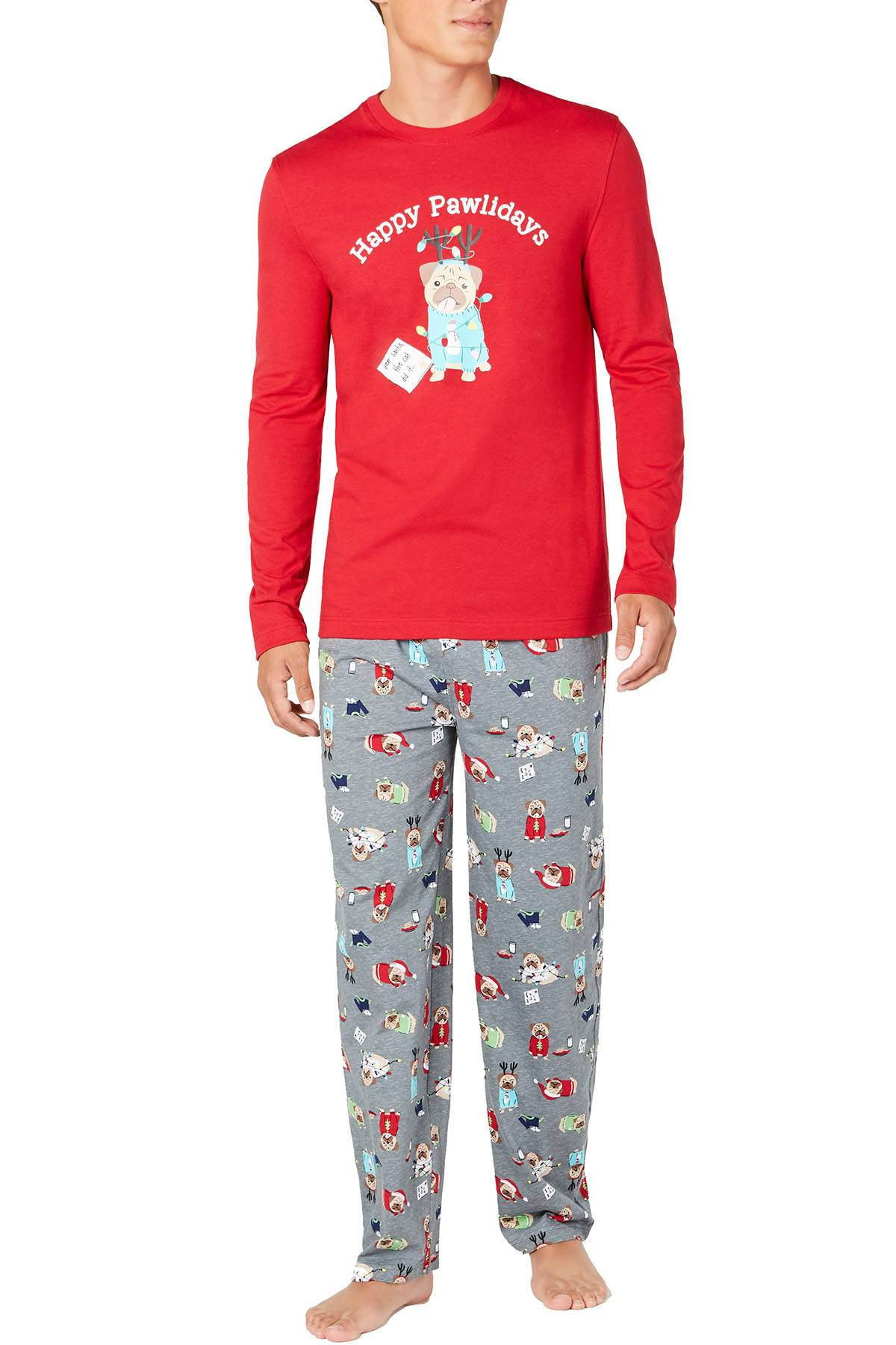 Family PJs Men Holiday Pajama Set in Happy Pawlidays