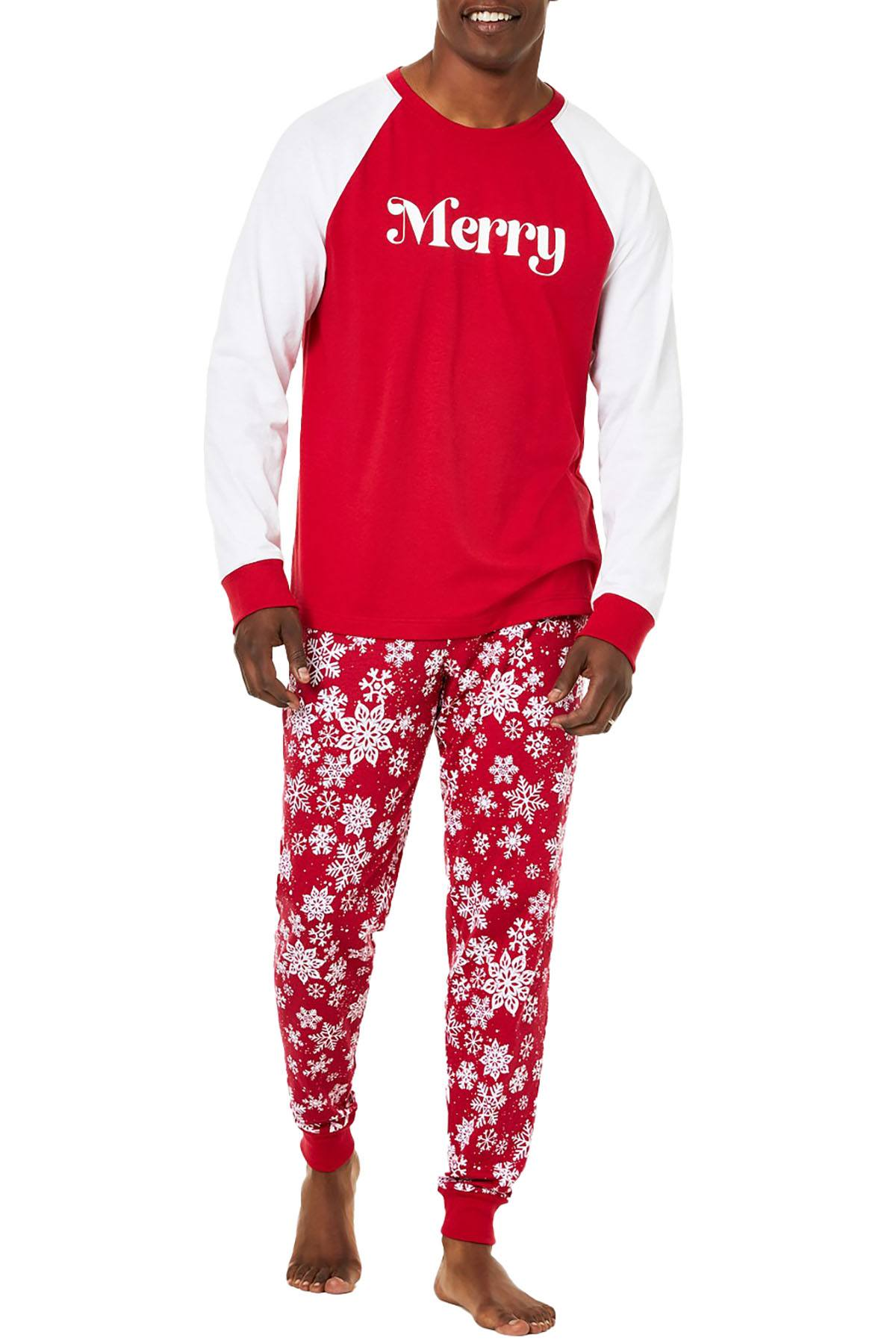 Family PJs Men Holiday Pajama Set in Merry Snowflake
