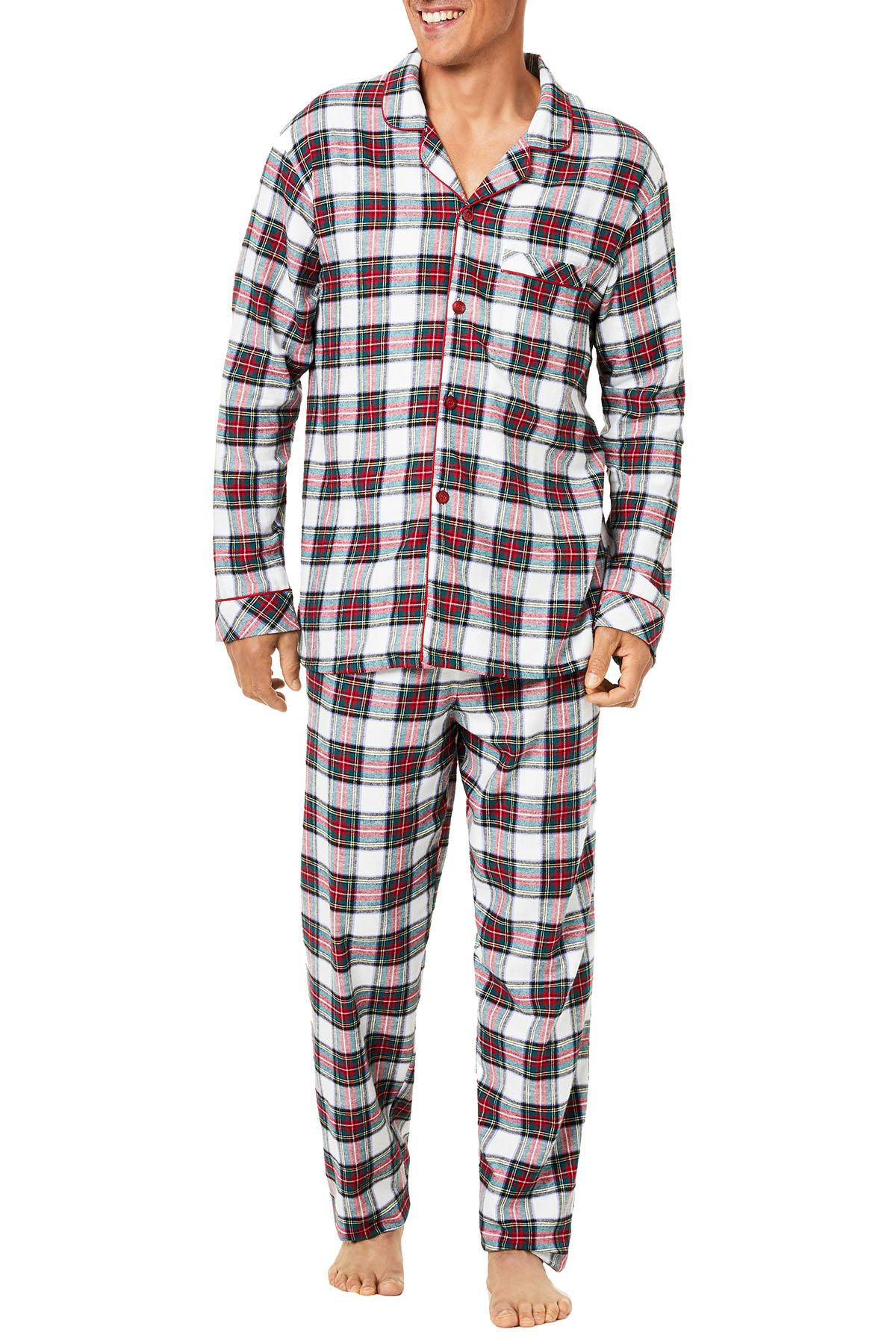 Family PJs Men Holiday Pajama Set in Stewart Plaid