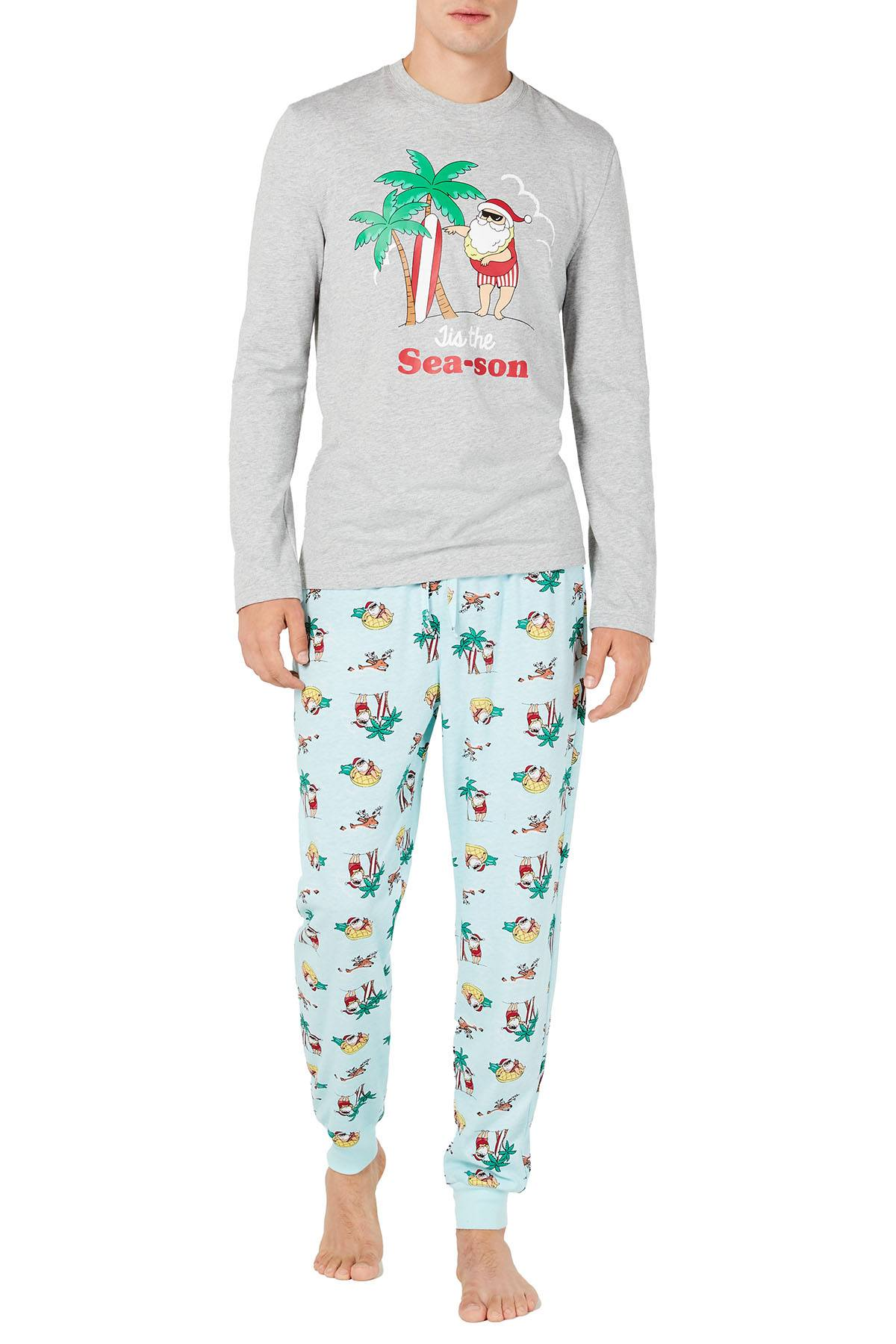 Family PJs Men Holiday Pajama Set in Tropical Santa