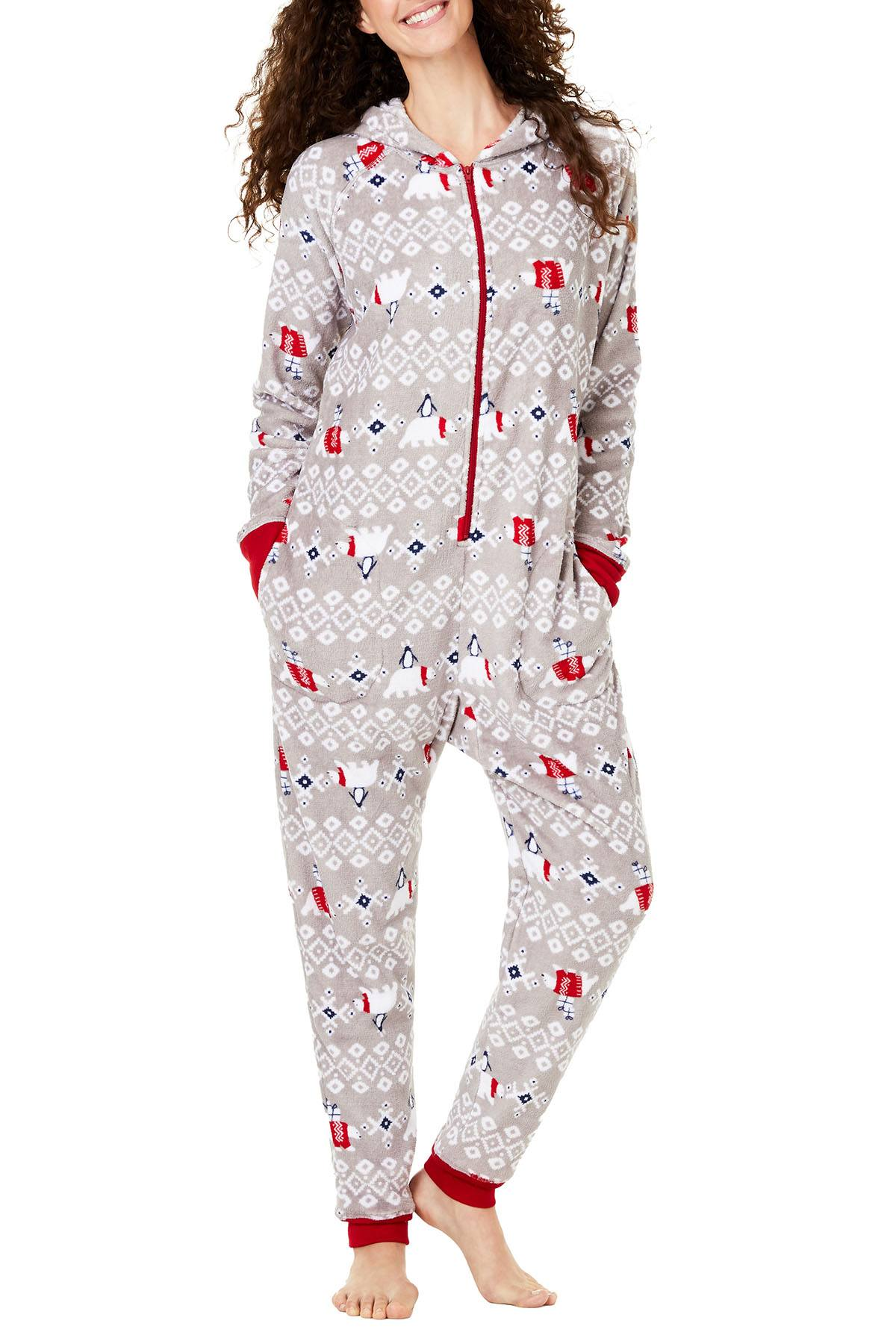 Family PJs Women's Holiday Hooded Onesie in Polar Bear Grey