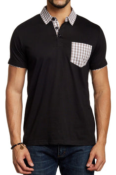 Filthy Etiquette Black & Beige Mason Polo Shirt