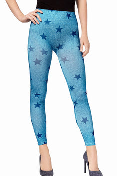 First Looks by HUE Blue Denim-Star Seamless Legging
