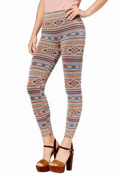 First Looks by HUE Navajo-Stripe Geo-Print Seamless Legging