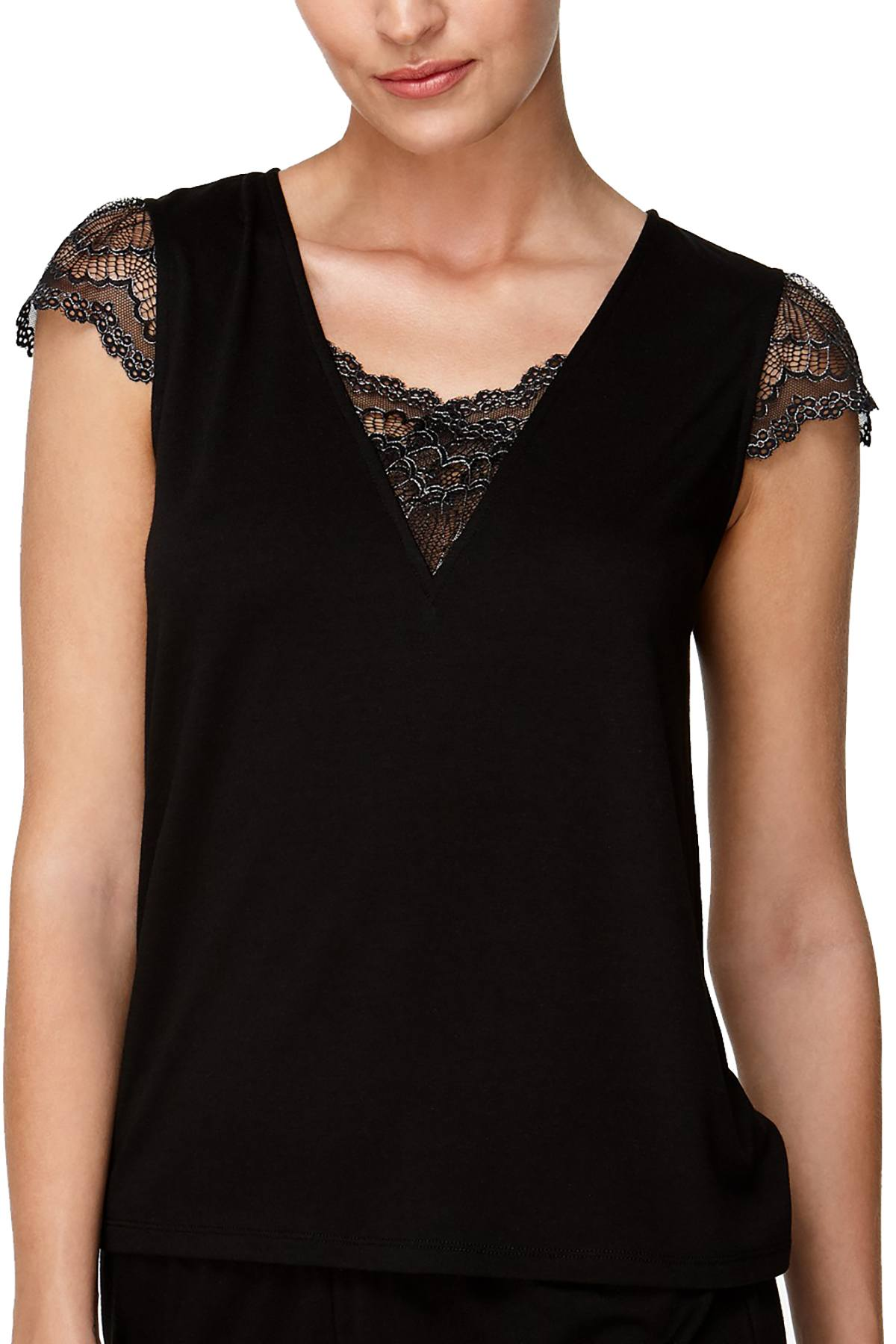 Flora by Flora Nikrooz Black Kat Lace-Trimmed Lounge Tee
