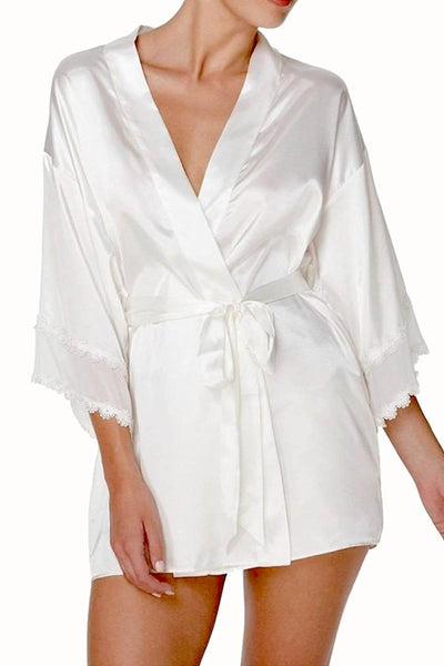 Flora by Flora Nikrooz Ivory Lace-Trim Vivian Wrap Robe - CheapUndies.com