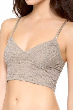 Free People Taupe Stretch Lace Cropped Bralette