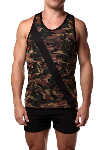 Freedom Reigns Black/Green-Camo Combat Tank Top - CheapUndies.com