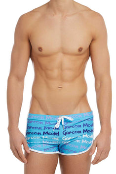 Garcon Model Blue Graffiti Swim Short