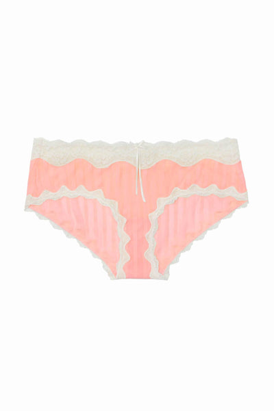 HEIDI By Heidi Klum Candlelight-Peach/Pristine Mesh/Lace Striped Hipster - CheapUndies.com