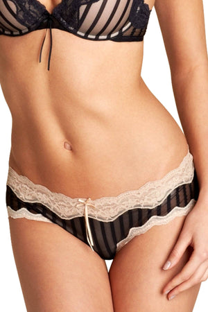 HEIDI by Heidi Klum Black/Toasted-Almond Mesh and Lace Striped Hipster