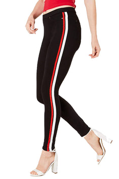 HUE Black Racer-Stripe Original Denim Legging