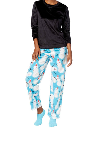 HUE Black Sueded Fleece Top and Snowman-Printed Pant 3-Piece Pajama Set - CheapUndies.com