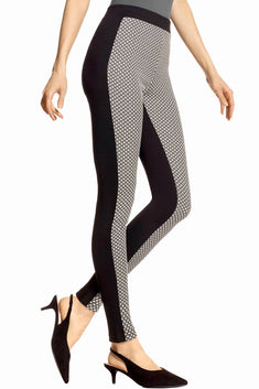 HUE Black/White Metallic-Glitz Check Ponte Legging