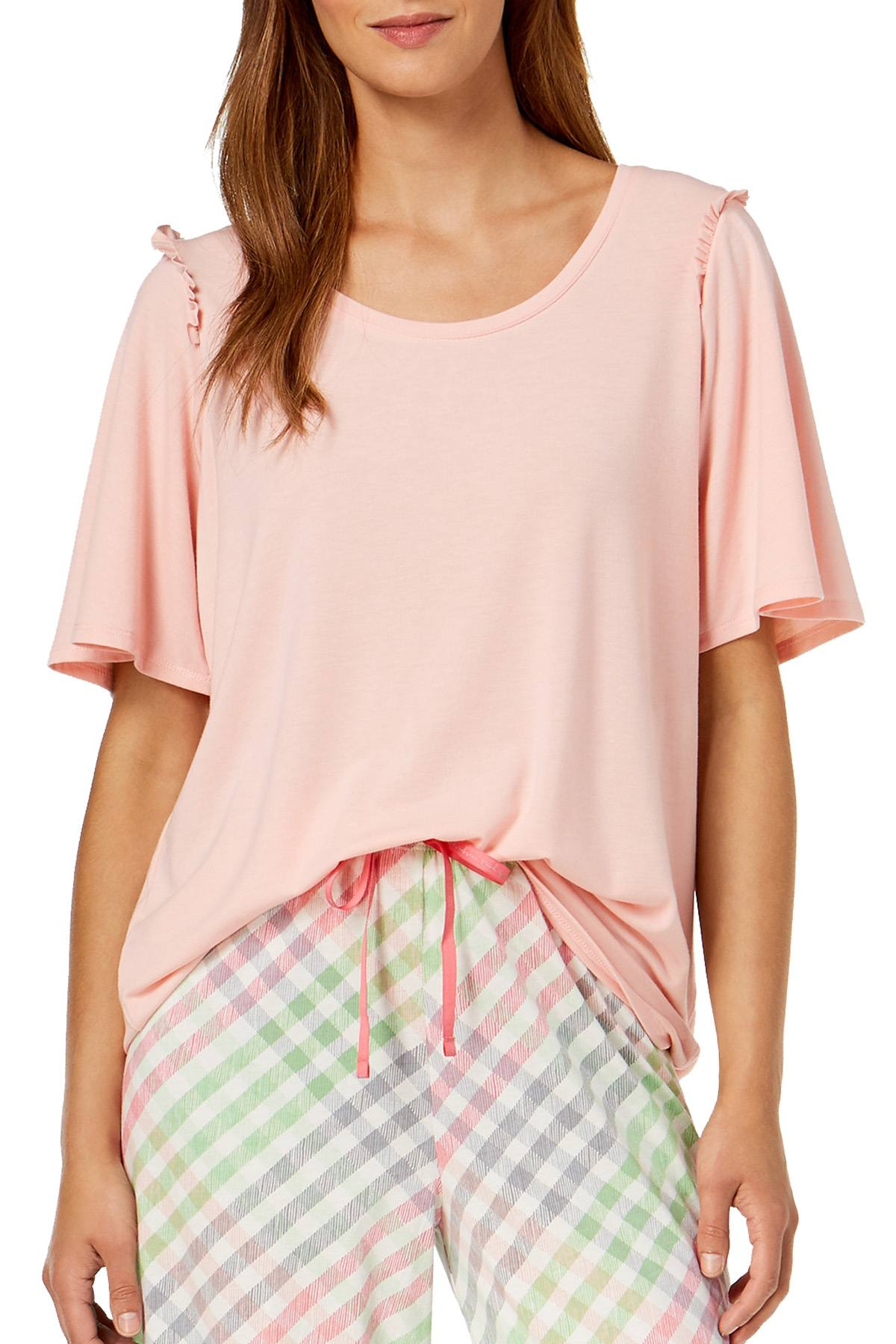 HUE Blossom Pink Bell Ruffled Sleeve Lounge Top