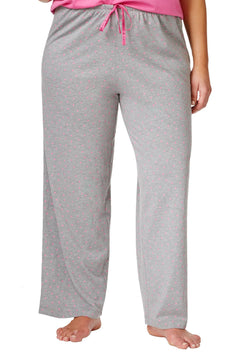 HUE PLUS Grey/Phlox-Pink Heart-Print Knit PJ Pant