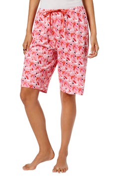 HUE PLUS Taffy-Pink Origami Birds Bermuda Sleep Short