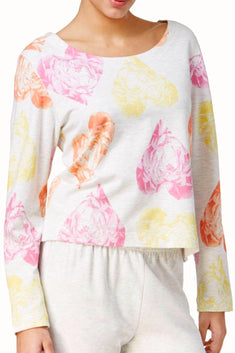 HUE Whitesand-Heather Keyhole-Back Rose-Hearts Lounge Top