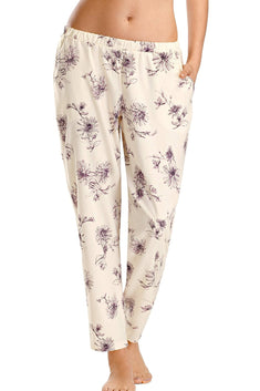 Hanro of Switzerland Fragile-Flower Printed Camille Modal Lounge Pant