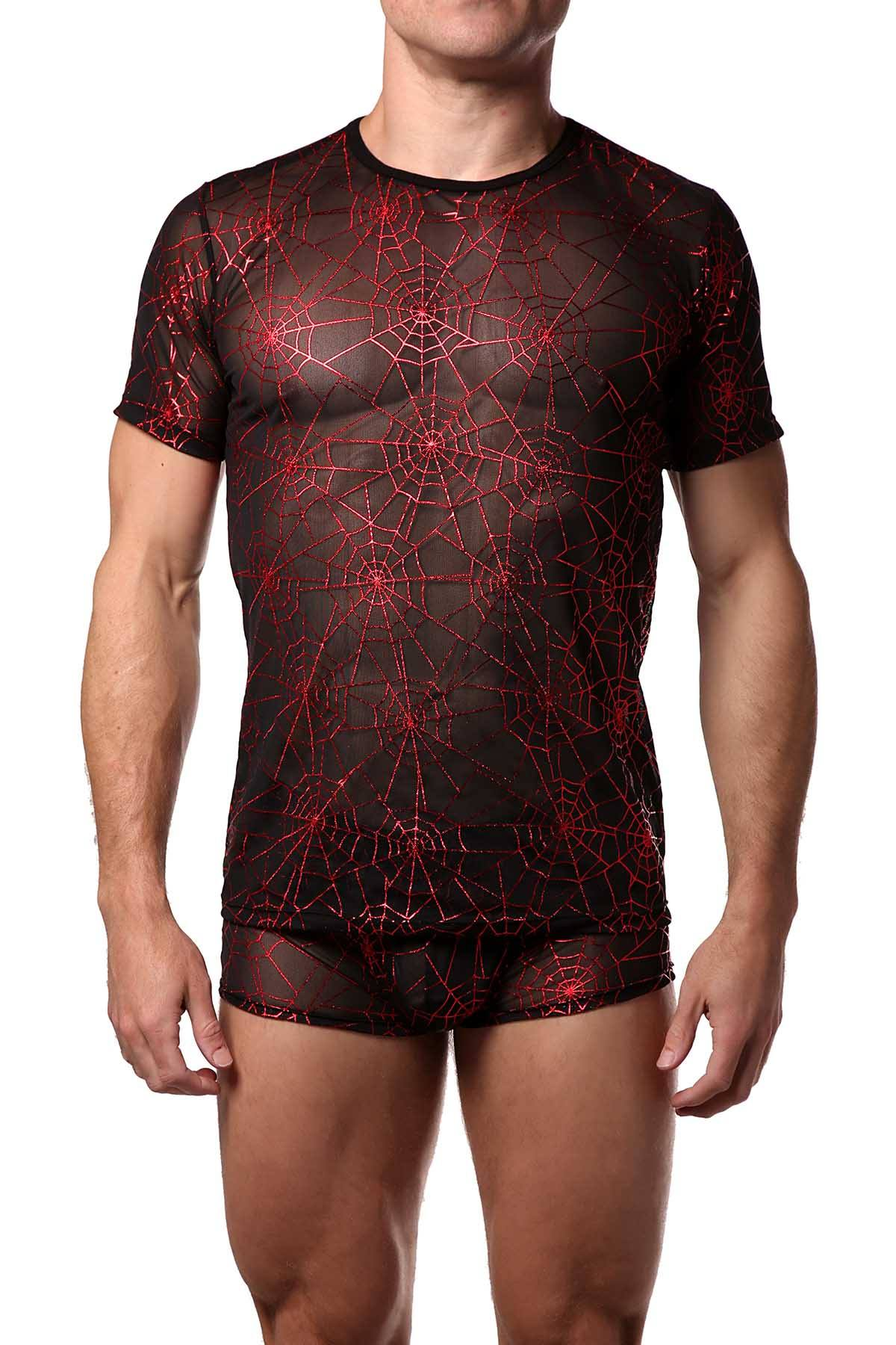 HardCore by GoSoftwear Black/Red Metallic Cobweb Tee