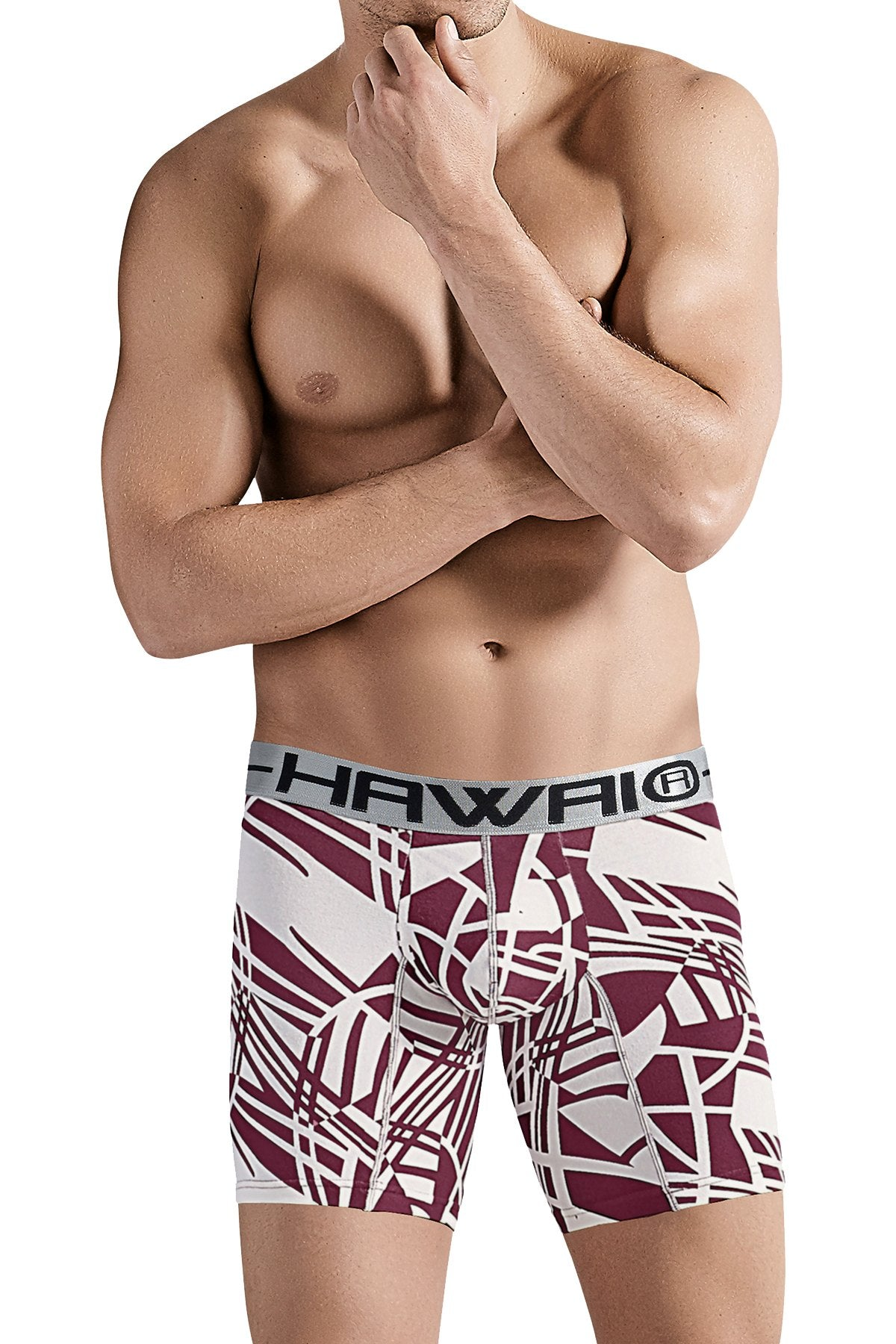 Hawai Red Abstract Psychedelic Print Boxer Brief
