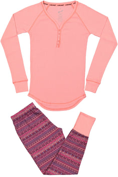 Head 2pc Fairisle & Salmon Rose Henley Pajama Set