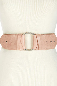 INC International Concepts Blush/Silver-Ring Stretch Belt