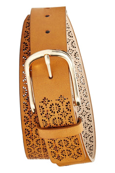 INC International Concepts Cognac/Gold Perforated Belt