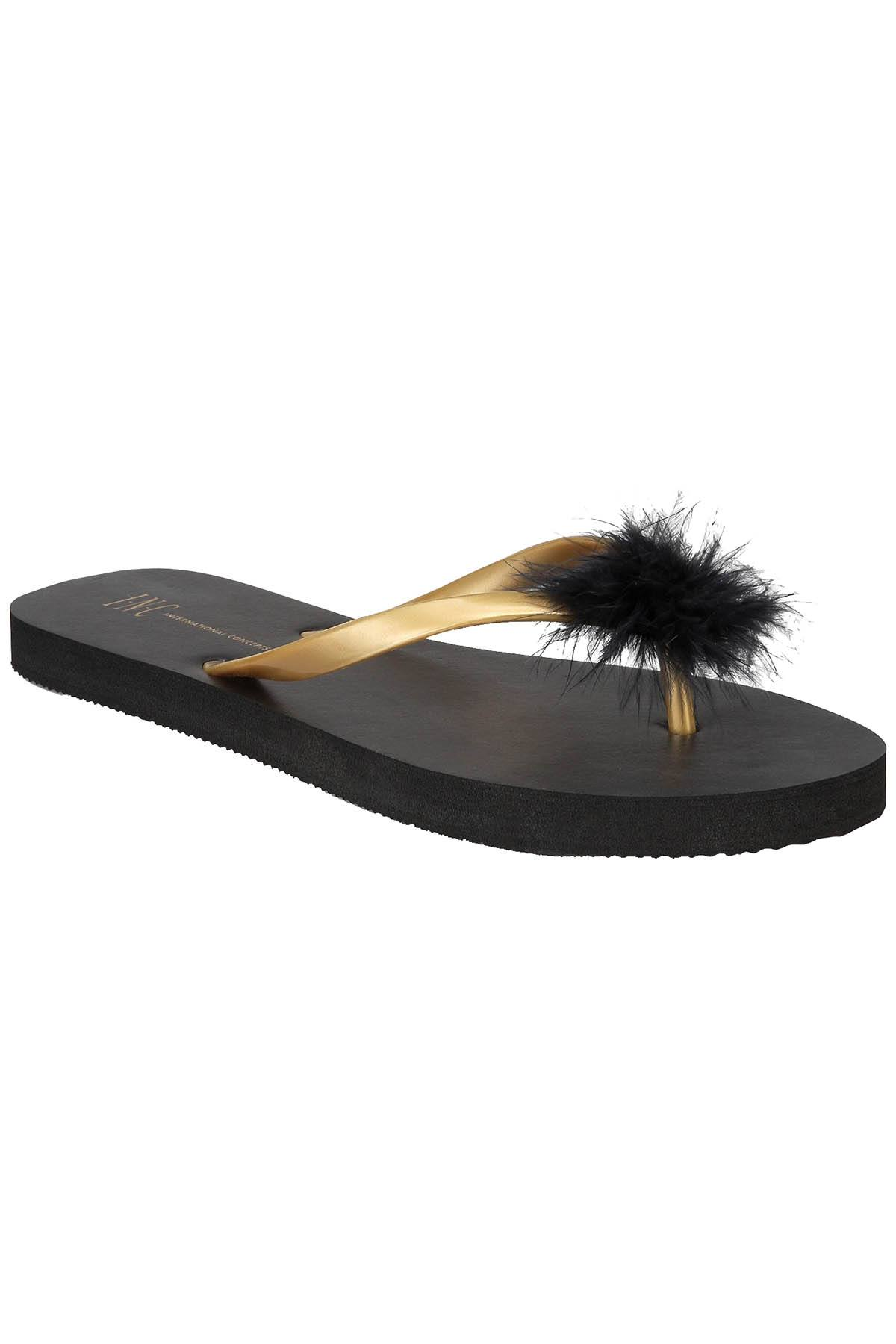 INC International Concepts Feather Puff Flip Flops in Black/Gold