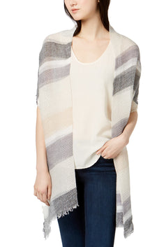 INC International Concepts Neutral Stripe Pleated Wrap / Scarf