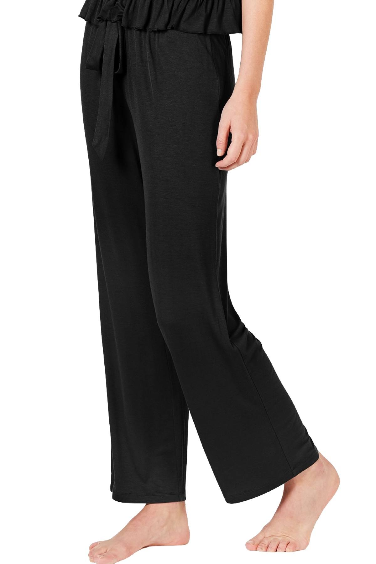 INC International Concepts Ultra Soft Knit Ruching Lounge Pant in Deep Black