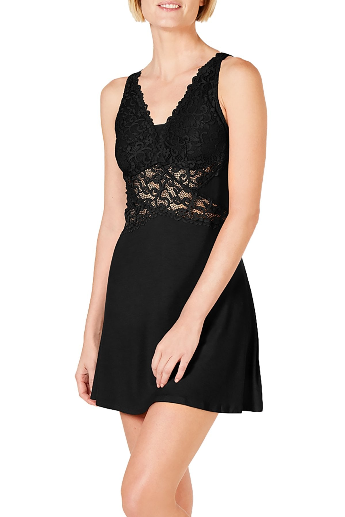INC International Concepts Ultra Soft Lace Detail Chemise in Deep Black