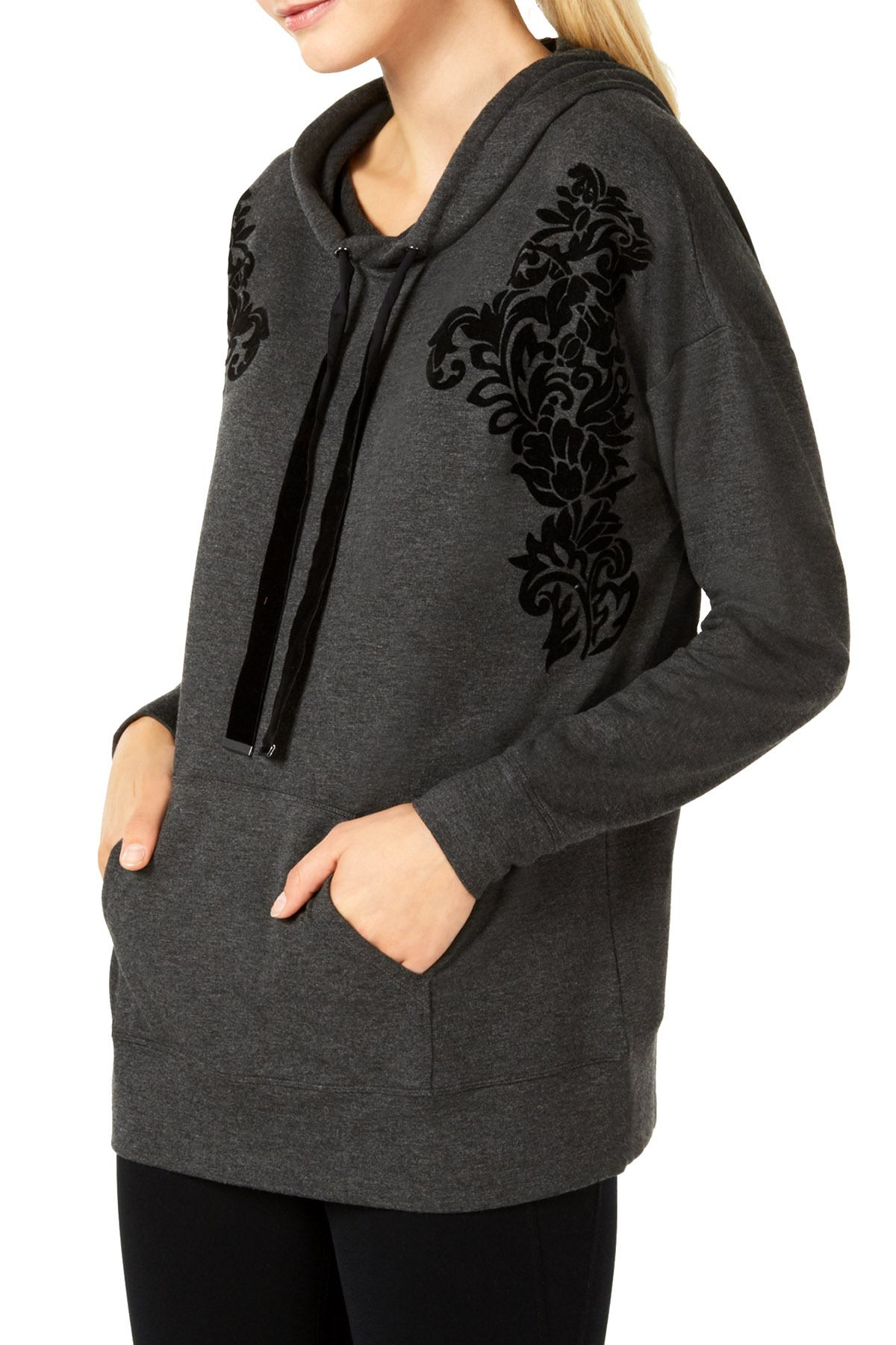 Ideology Charcoal Heather Flocked Hoodie