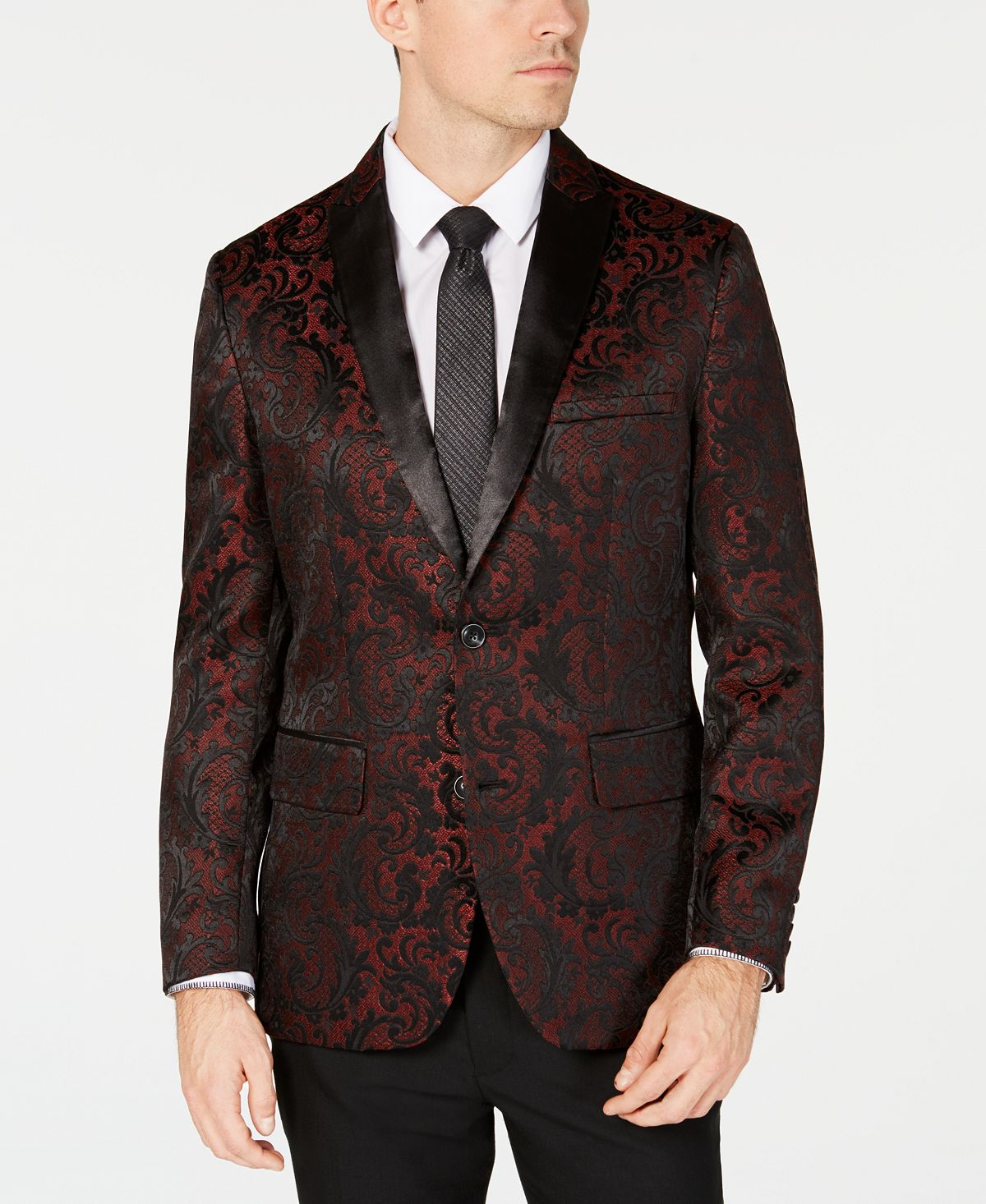 Inc International Concepts Inc Slim-fit Jacquard Blazer Red Combo