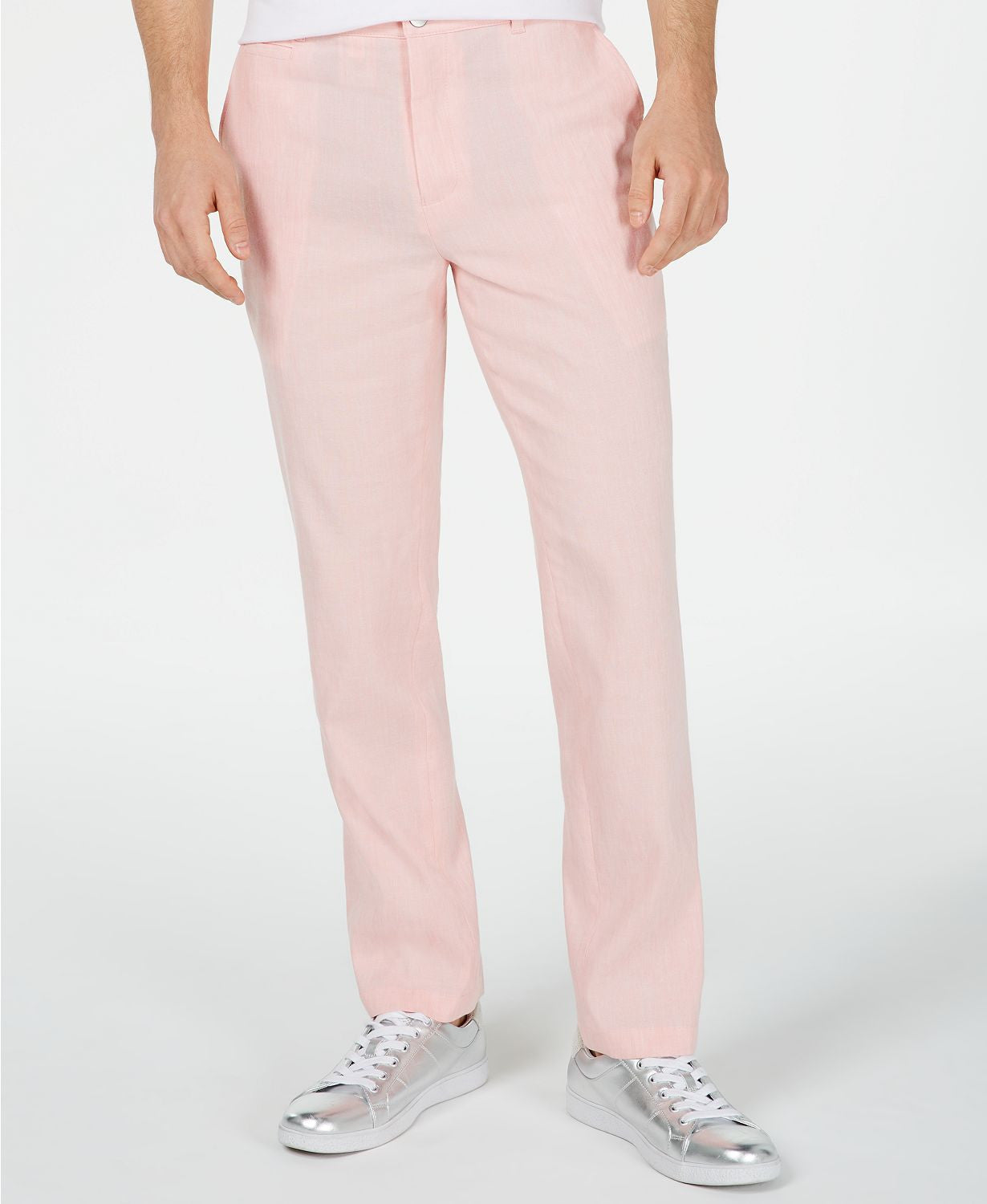 Inc International Concepts Slim Fit Stretch Linen Pants / Coral Combo